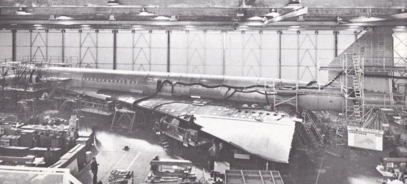 Concorde, dérive, prototype 001, tronçon 26, fabriquée, Usines de Touloue, prototype, hall d'assemblage, Blagnac