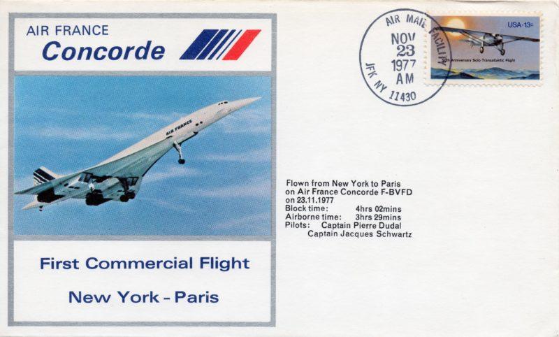 philatélique, premier vol New York-Paris, AF, 23nov1977