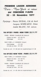 Concorde, FD, philatélique, premier vol New York-Paris, AF, 1977, pli auto-collant, carton